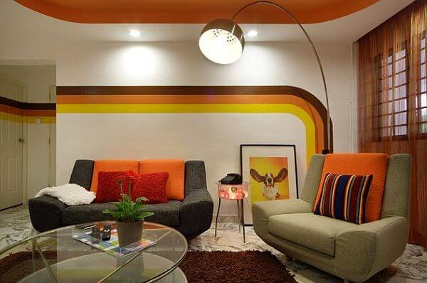 6 Things to Make Your Living Room Instantly Retro. Unexpected color scheme for vintage styled area