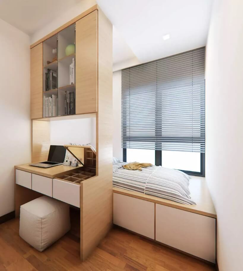 Window Sill Transformation into Uniquely Designed Cozy Additional Bed. Minimalsitic and very small spaced home office with sleeper hi-tech eco style