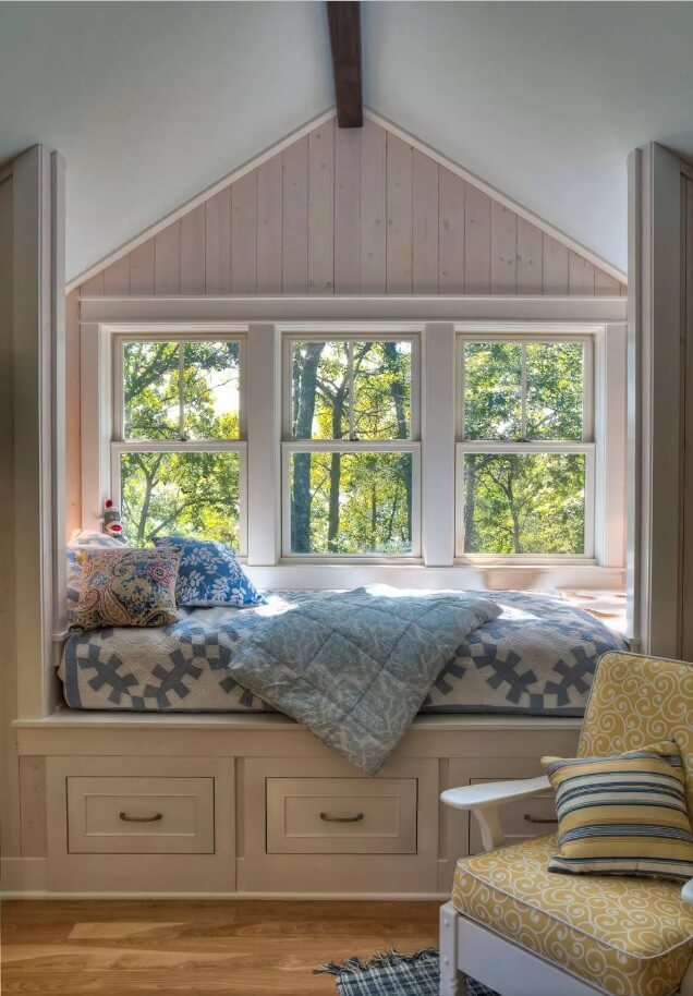 Window Sill Transformation into Uniquely Designed Cozy Additional Bed. Peculiar design of the kids room