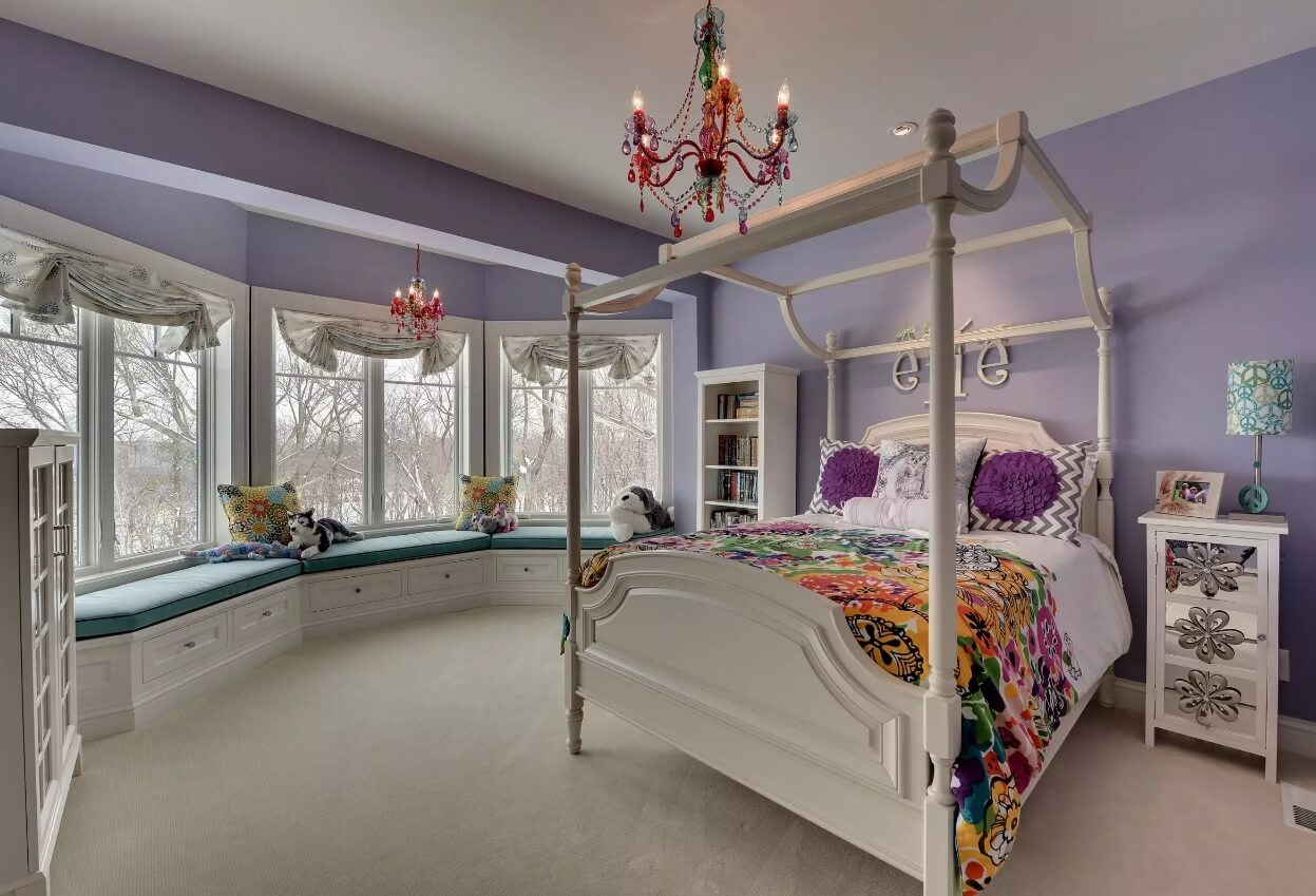 Window Sill Transformation into Uniquely Designed Cozy Additional Bed. Fancy children's room embodies kids' fantasies