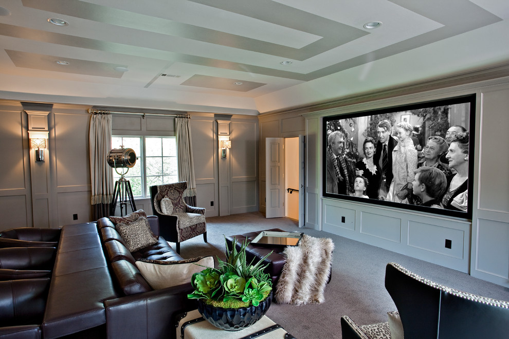 Home Theater as Addition to Large Modern Interior. Gorgeous and combined design of the spacious room