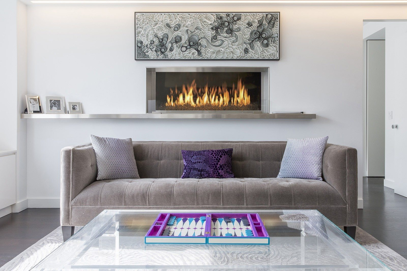 Living Room Furniture and Fireplace Ideas 2017. Practical Fashion. Built-in electric hearth looks like a picture at the wall