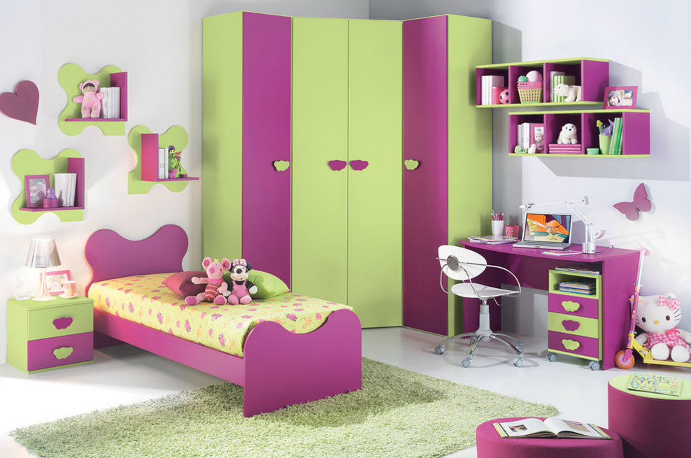 Corner Cabinet Types for Modern Bedroom Interior Design. Children's room with very bright color gamma