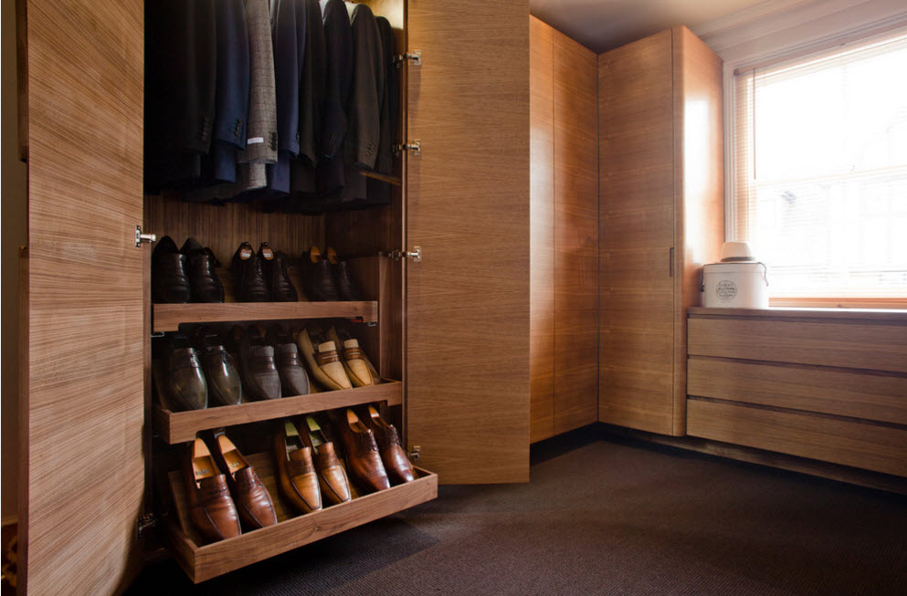 Corner Cabinet Types for Modern Bedroom Interior Design. Wooden wardrobe to fit all the shoes