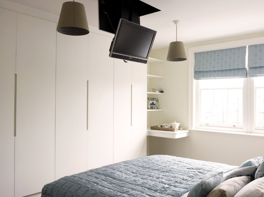 Corner Cabinet Types for Modern Bedroom Interior Design. Gray and dark combination of colors to set the small room design