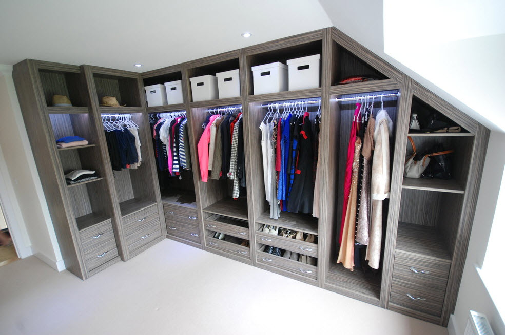 Corner Cabinet Types for Modern Bedroom Interior Design. Unique design of the open wardrobe storage system