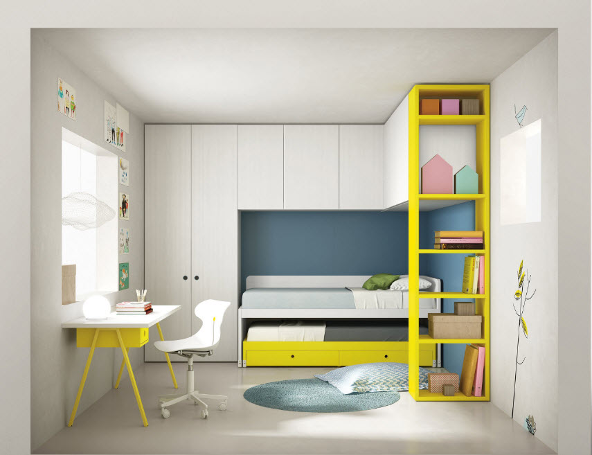 Yellow frames of the racks and the white module cabinet