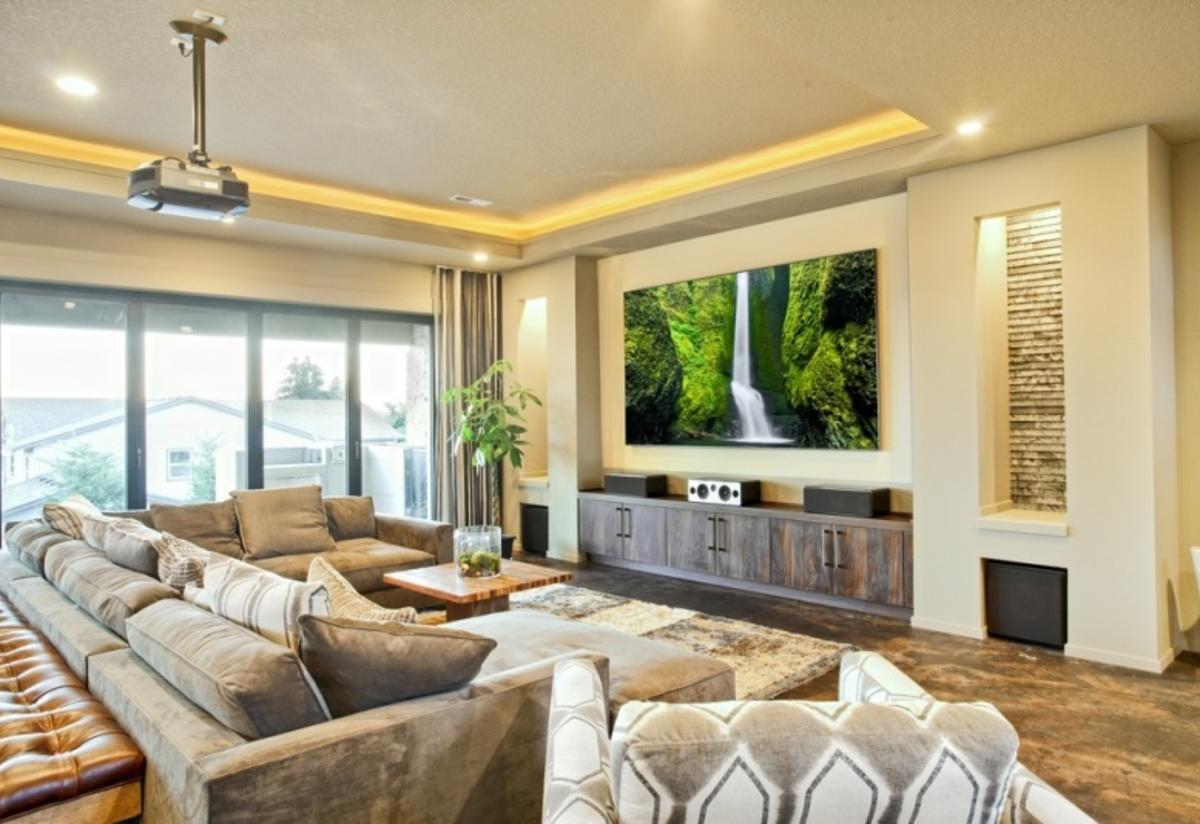 Home Theater as Addition to Large Modern Interior. Light positive appearance of the Classic designed space