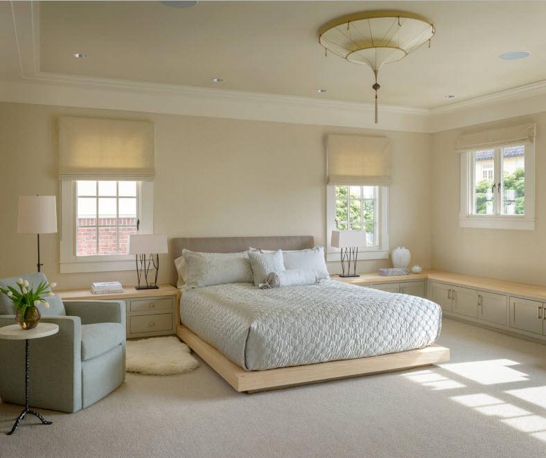 Corner Cabinet Types for Modern Bedroom Interior Design. Platform bed in the center of modern styled room
