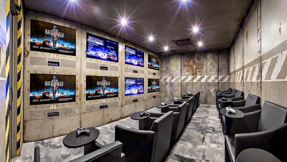 Home Theater As Addition To Large Modern Interior. Playground Right At The  Basement Rebuilt As