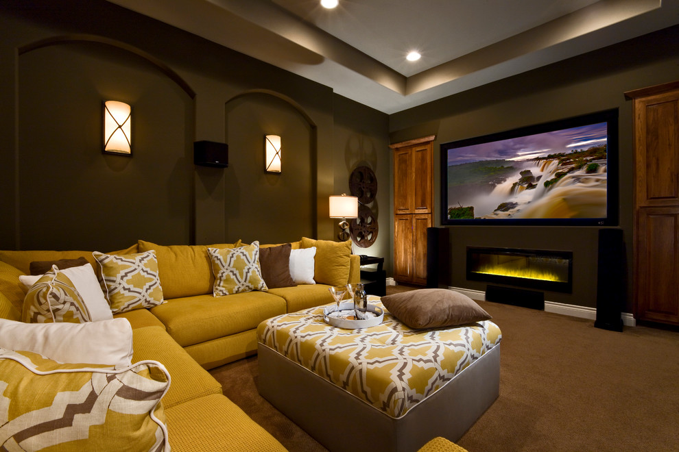 Home Theater as Addition to Large Modern Interior. Nice yellow-beige combination of the upholstered furniture