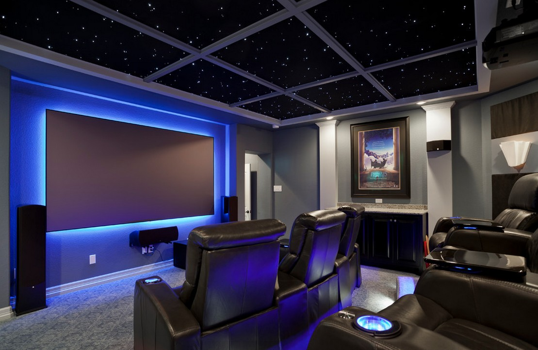 Home Theater as Addition to Large Modern Interior. Dark atmosphere in the neon enlighted premise