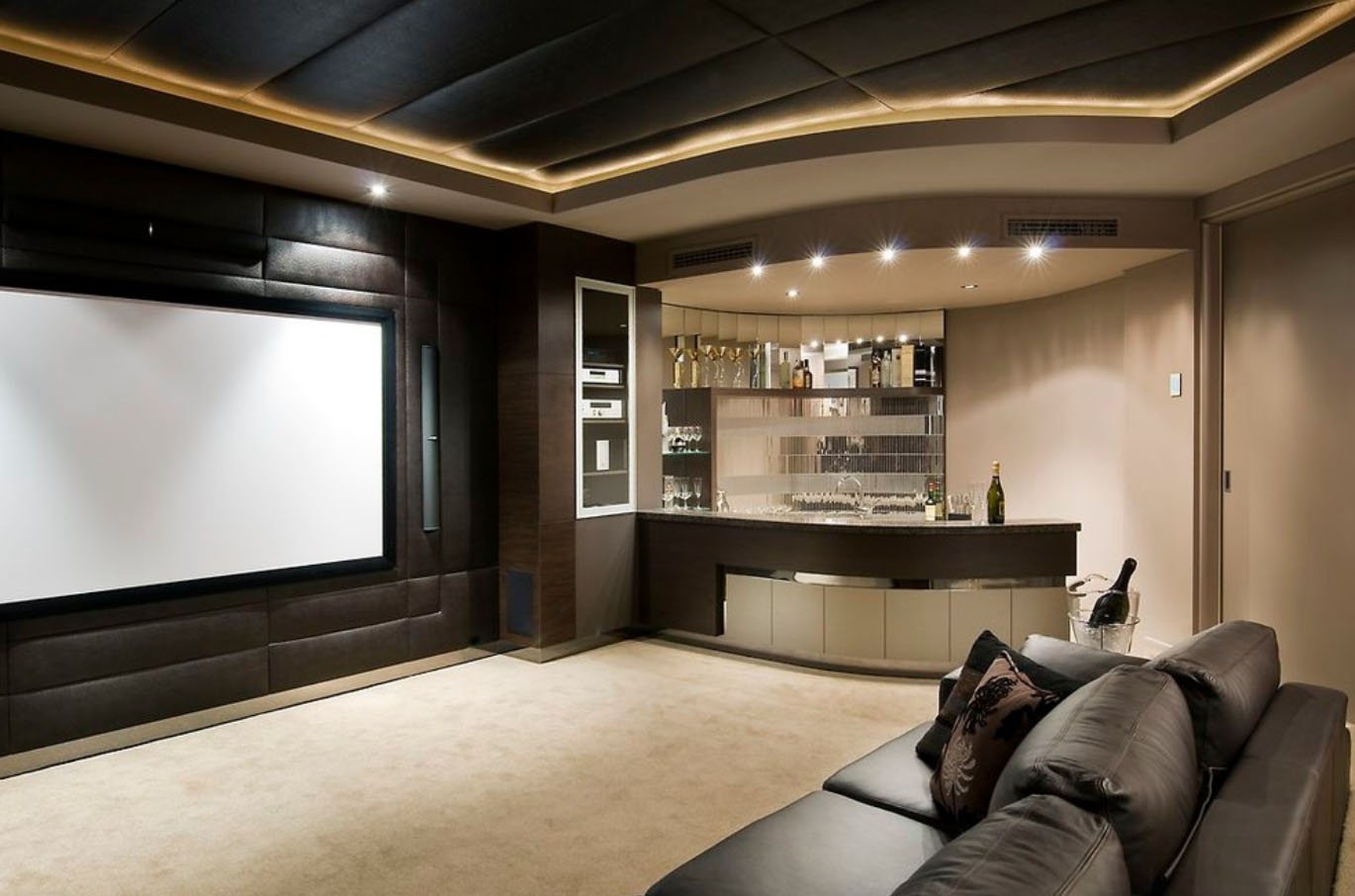 Home Theater as Addition to Large Modern Interior. Effective design of the cinema with the bar