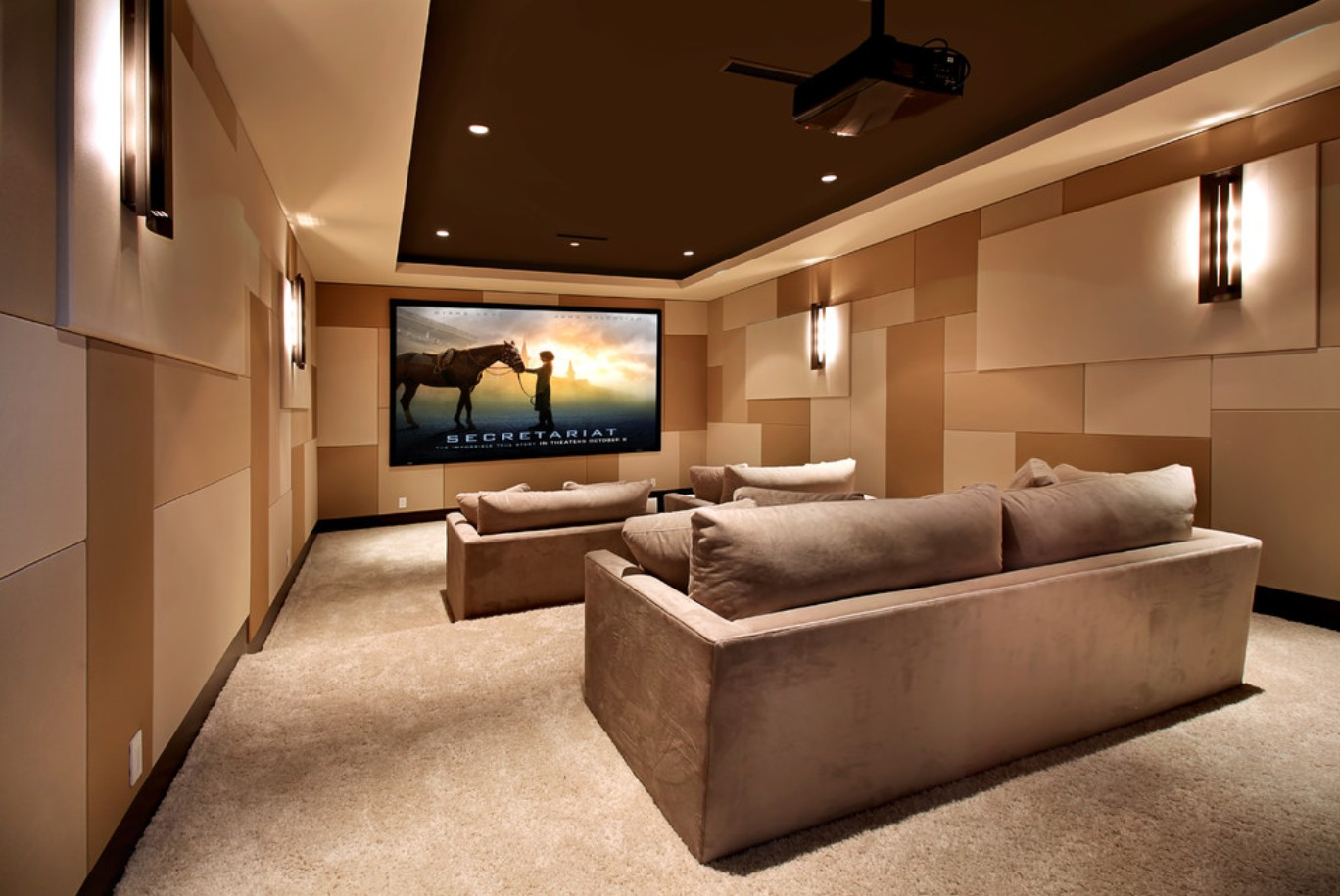 Elegant Home Theater As Addition To Large Modern Interior. Upholstered Furniture In  The Same Color Tone