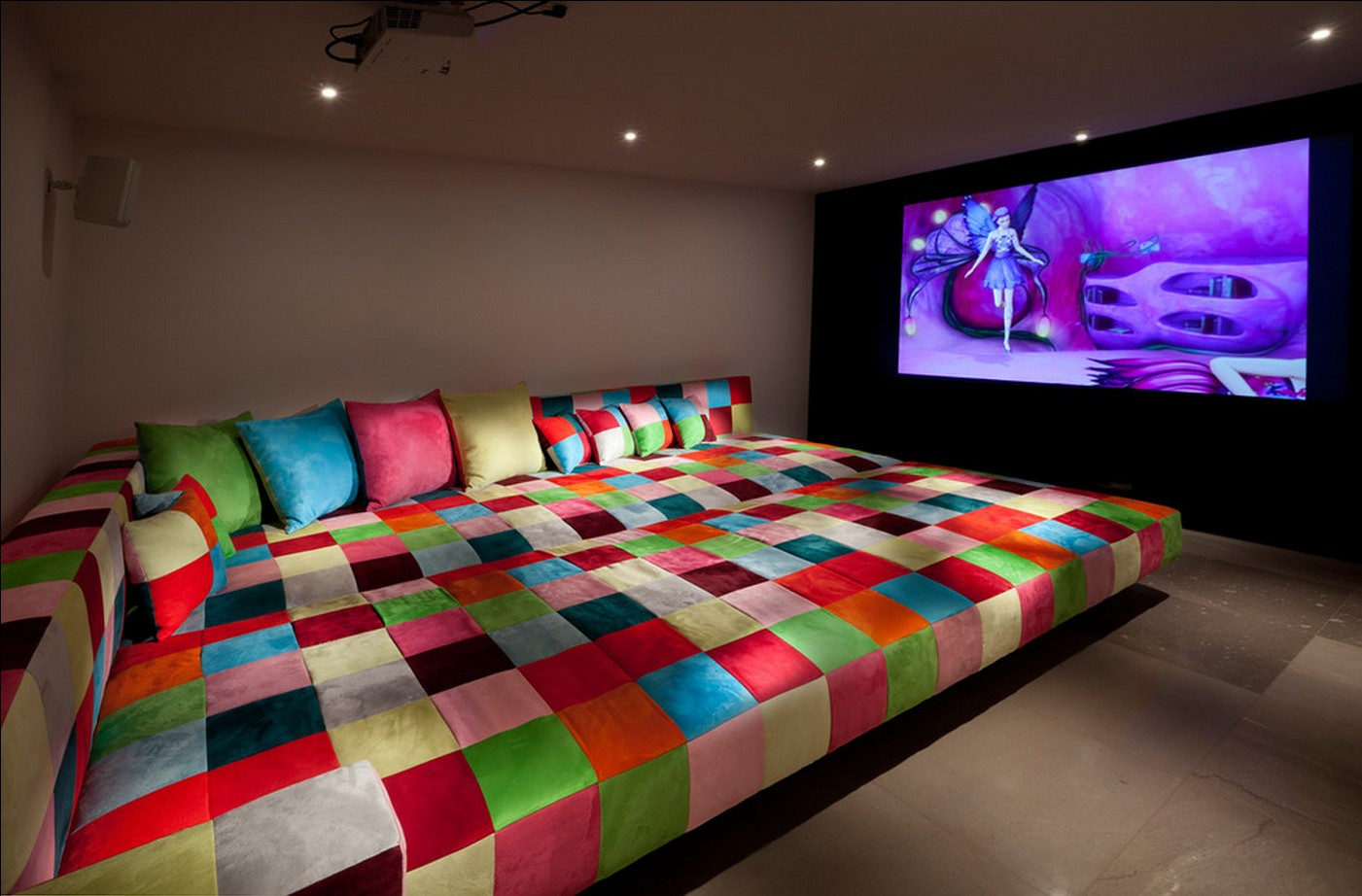 Home Theater as Addition to Large Modern Interior. Gorgous colored sofa of enormous size for big company