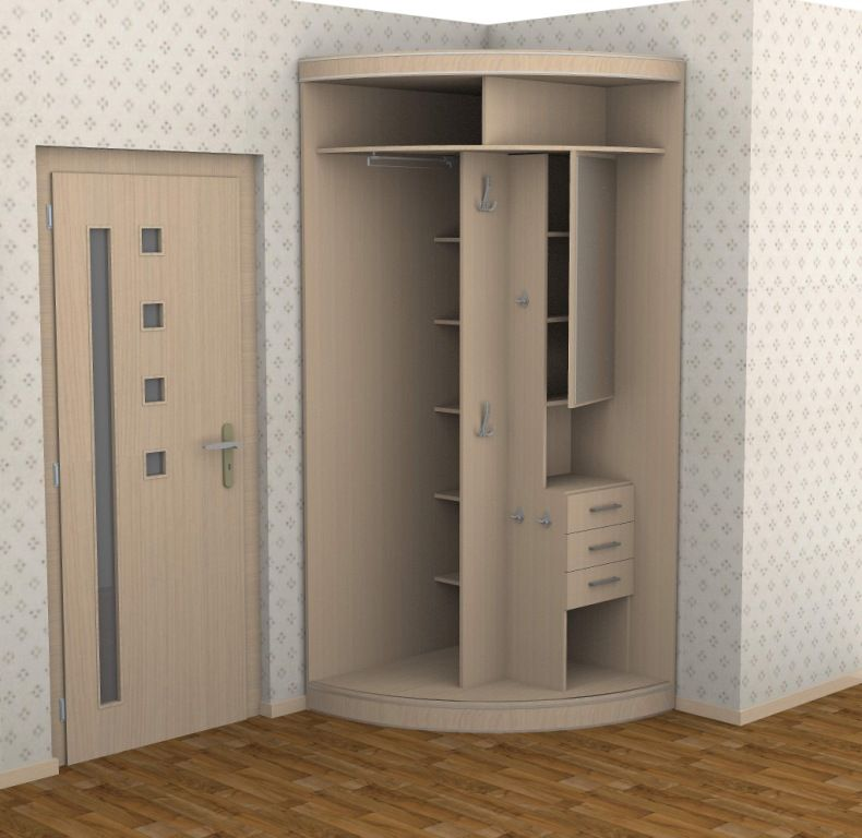 Compact corner cabinet projection in the modern room