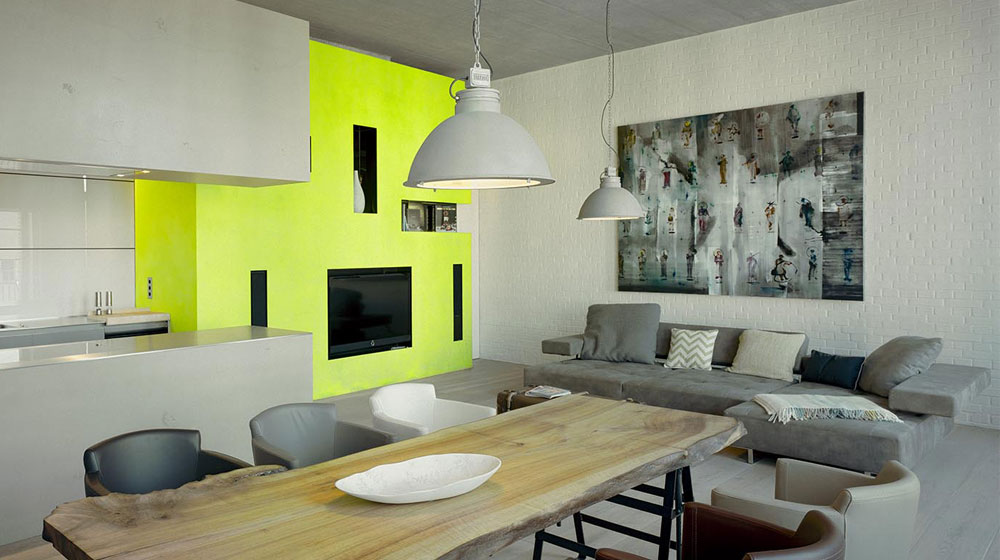zoning living rooms multiple functional areas with decor and lighting yellow wall to contrast the