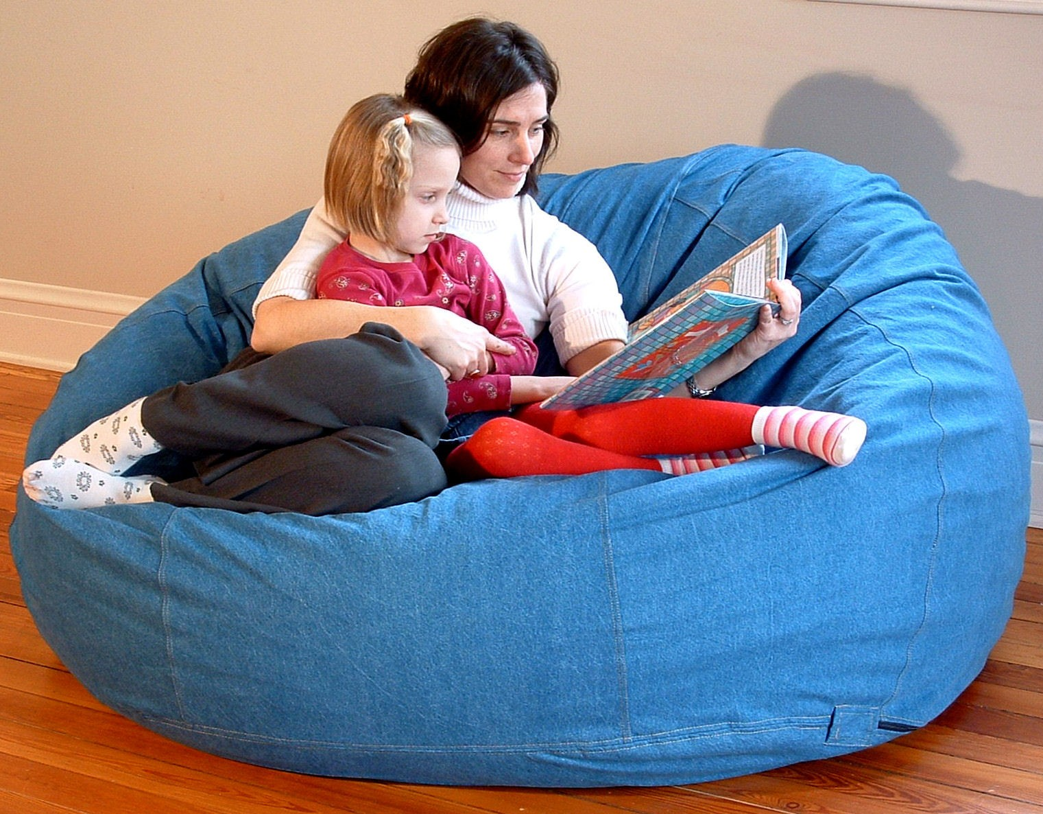 Anyone can rest right on the bean bag chairs with their kids