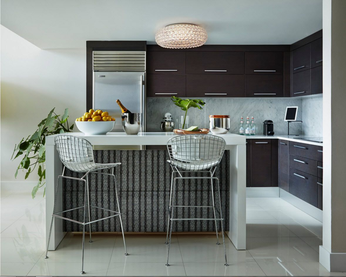 Plastic and metal with dark kitchen set surfaces