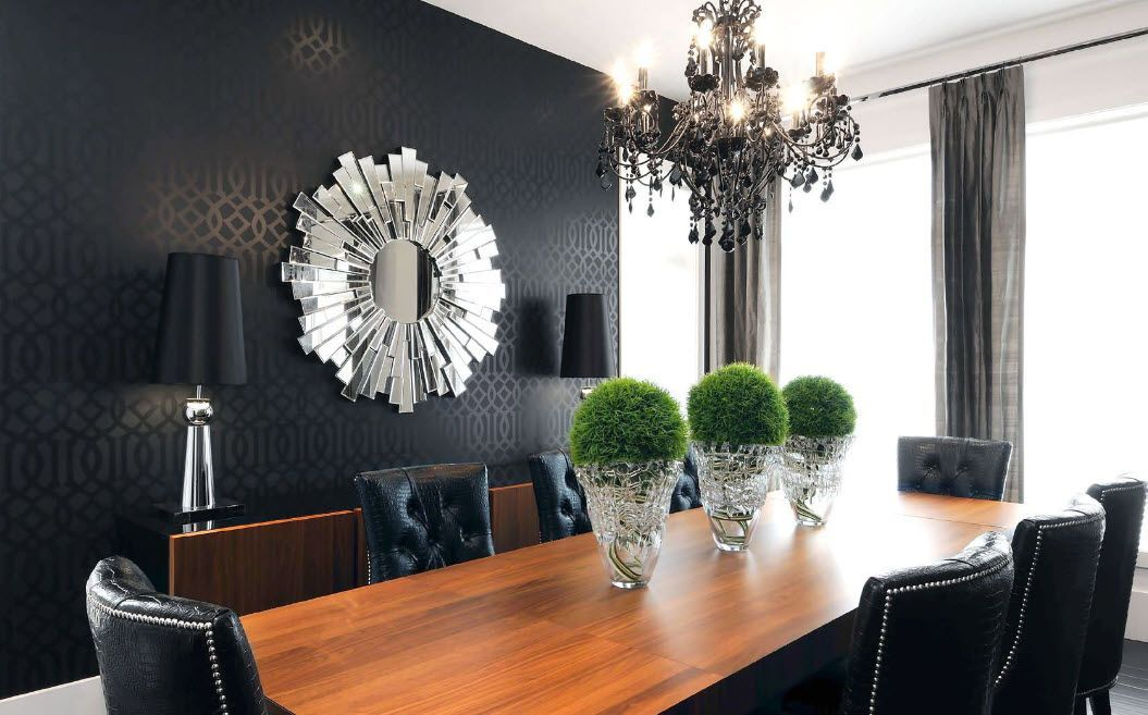 Royal mix of styled and colors for the large dining room in the private house