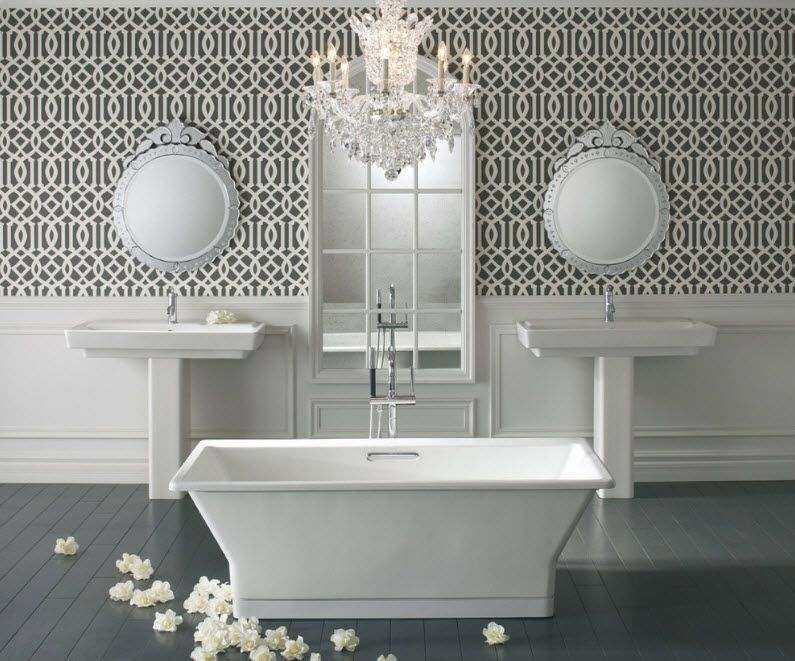 A little bit exhibitional showpiece interior of the large bathroom for two