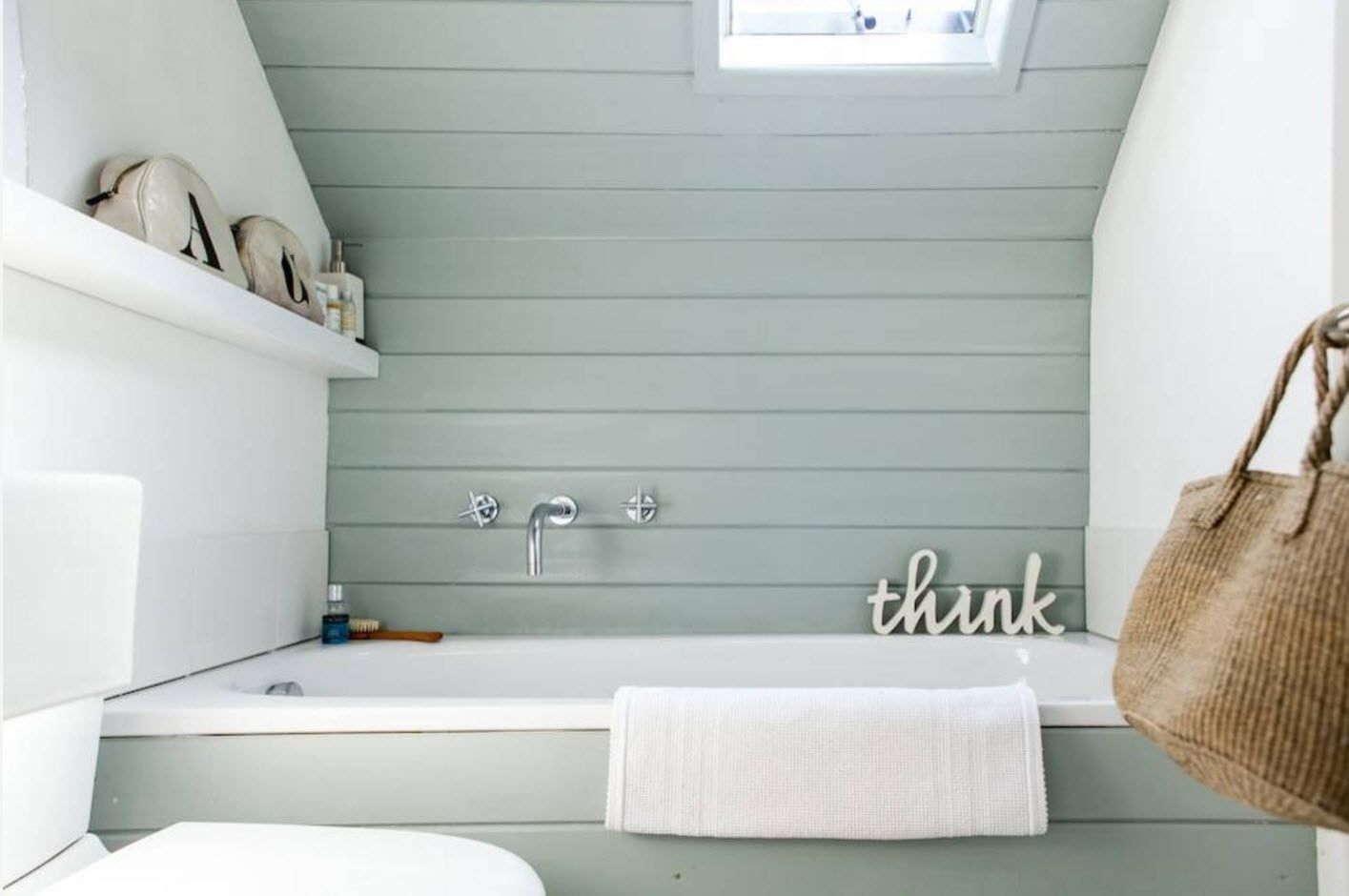 mild tone of olive in the natural style of bathroom with text