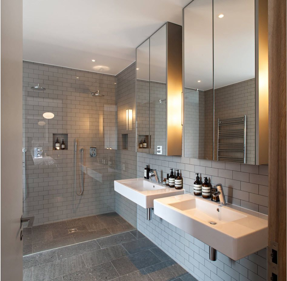 Gray marble finished bathroom for two