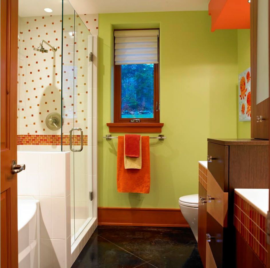 Bright accentual and vivid decoration of the modern styled bathroom