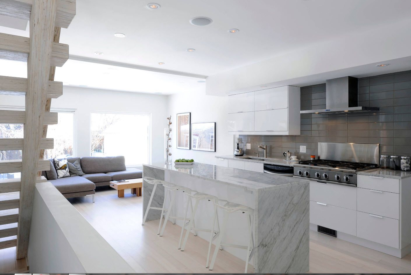 Marble sides of kitchen island in the center