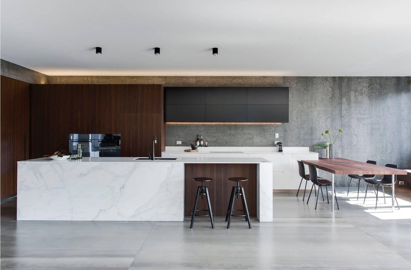 Cutting edge kitchen design in dark gray palette