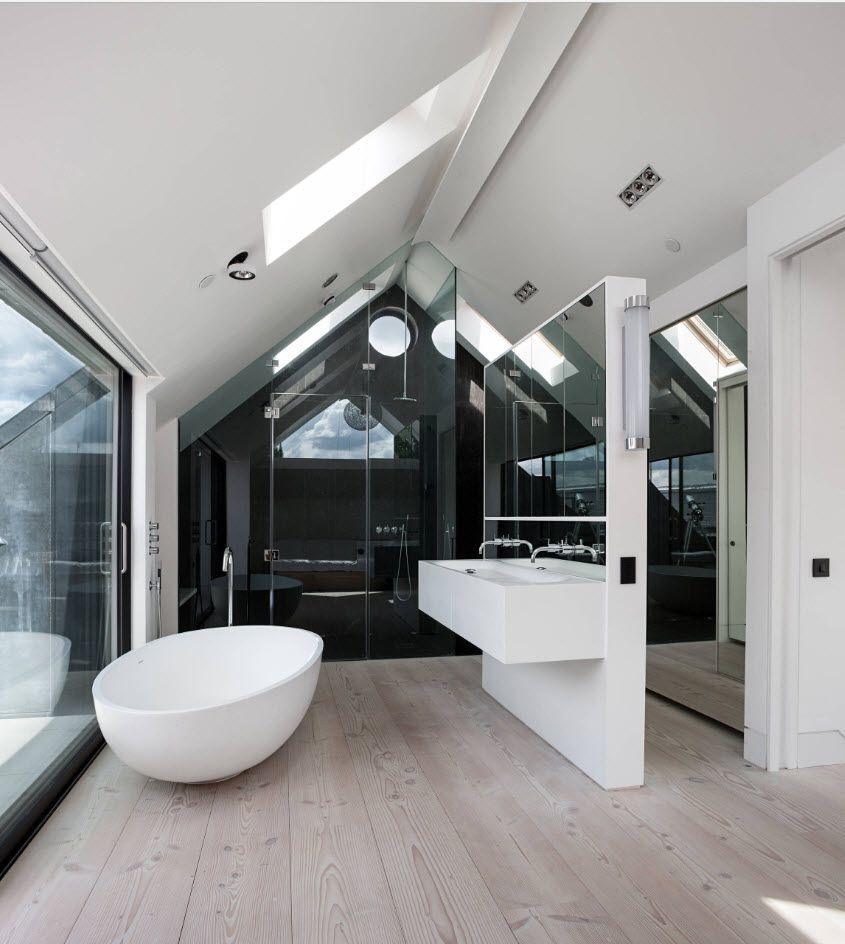 Loft modern Bathroom with panoramic window and large mirror