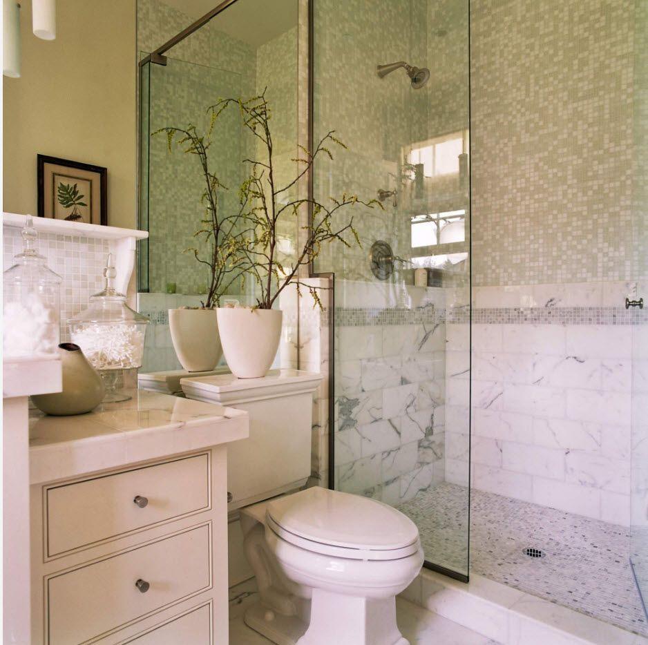 Marble shower finishing ni the bathroom