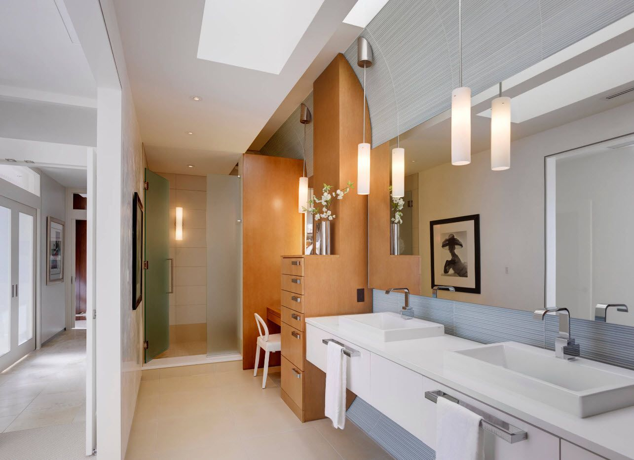 Light wooden vanity zone in the bathroom