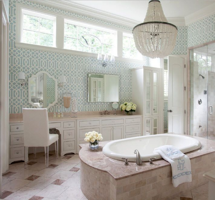 Modern bathroom interior with upper style and maximum functionality