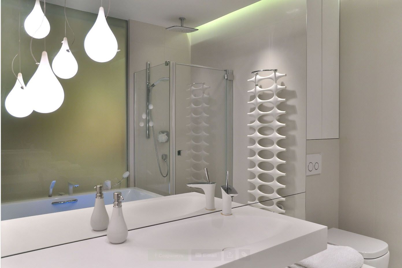Water radiator of peculiar form in the modern white creamy bathroom
