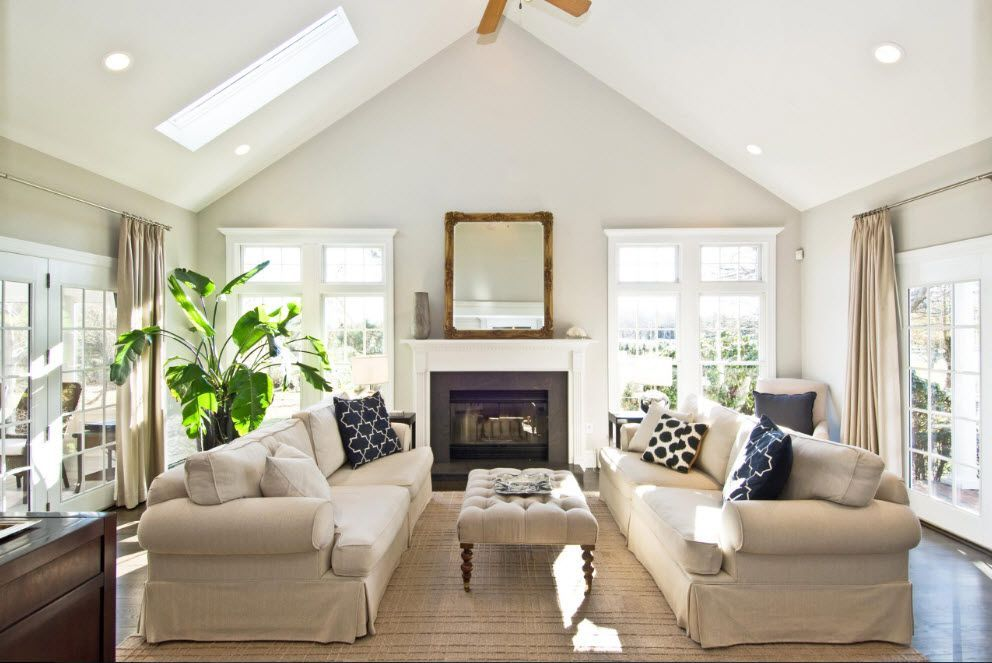 Small house's common living room in light colors and classic style with minimalism elements