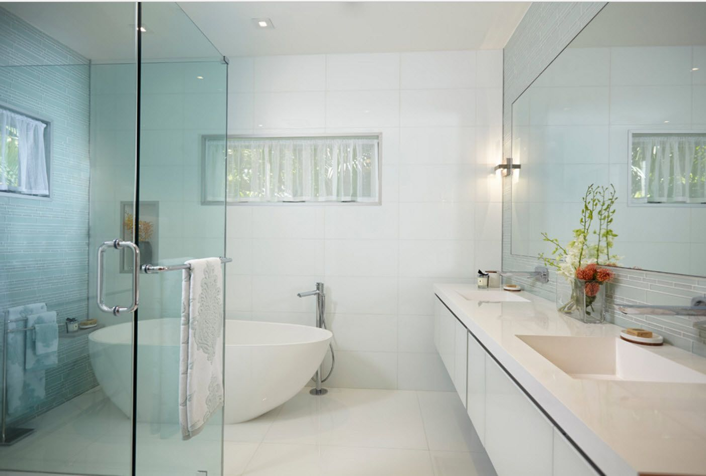 Bathroom Design Trends & Decoration Ideas 2017 snow white finish and oval form of bathtub