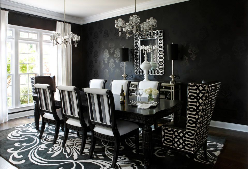 Black and white contrasting interior in the laconic Modern style motifs