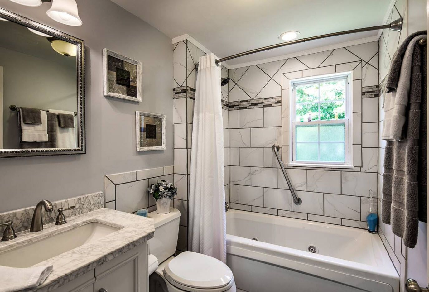 Large underground tile finishing in the Classic bathroom