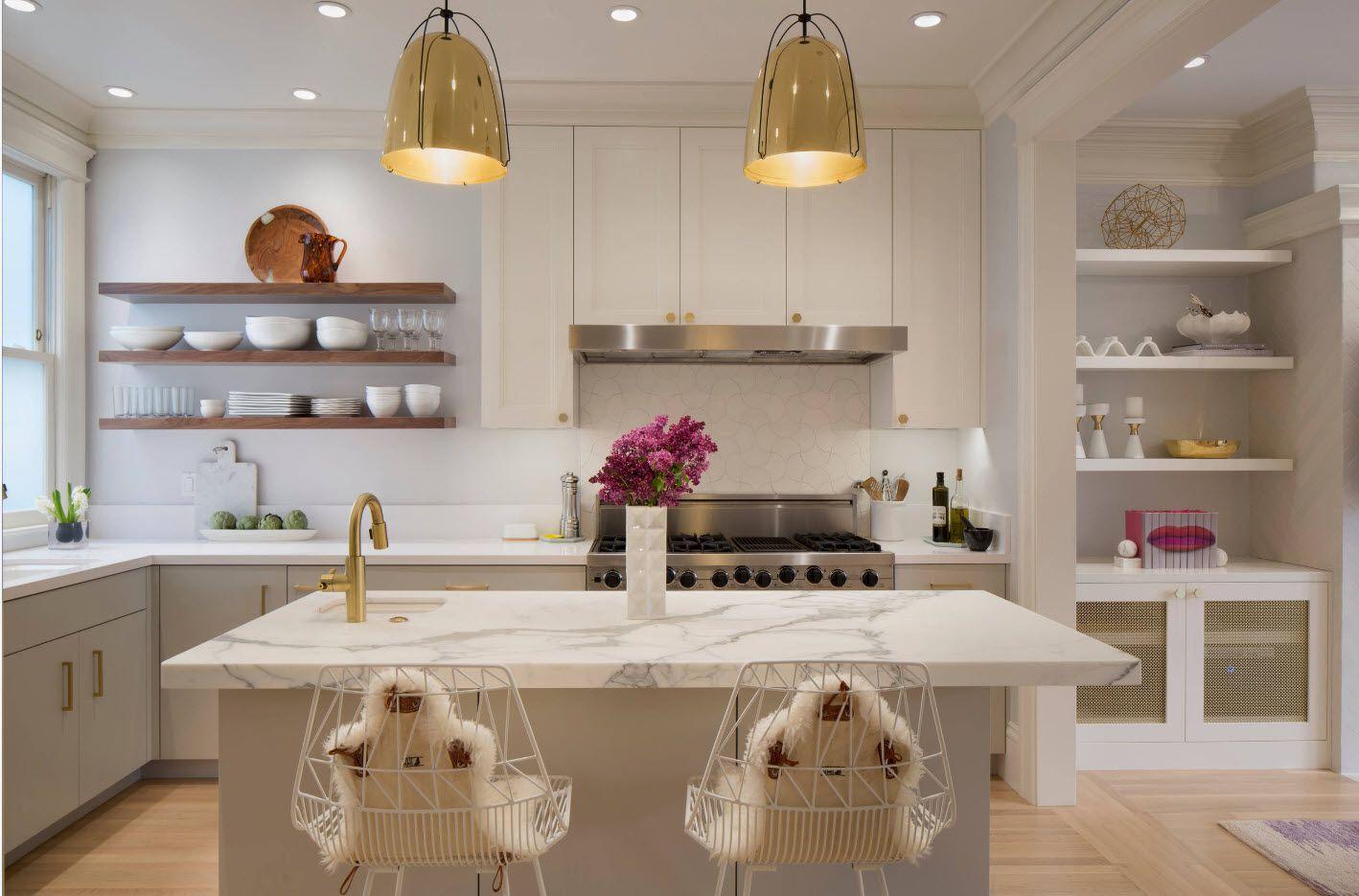 White creamy color palette in contemporary designed kitchen