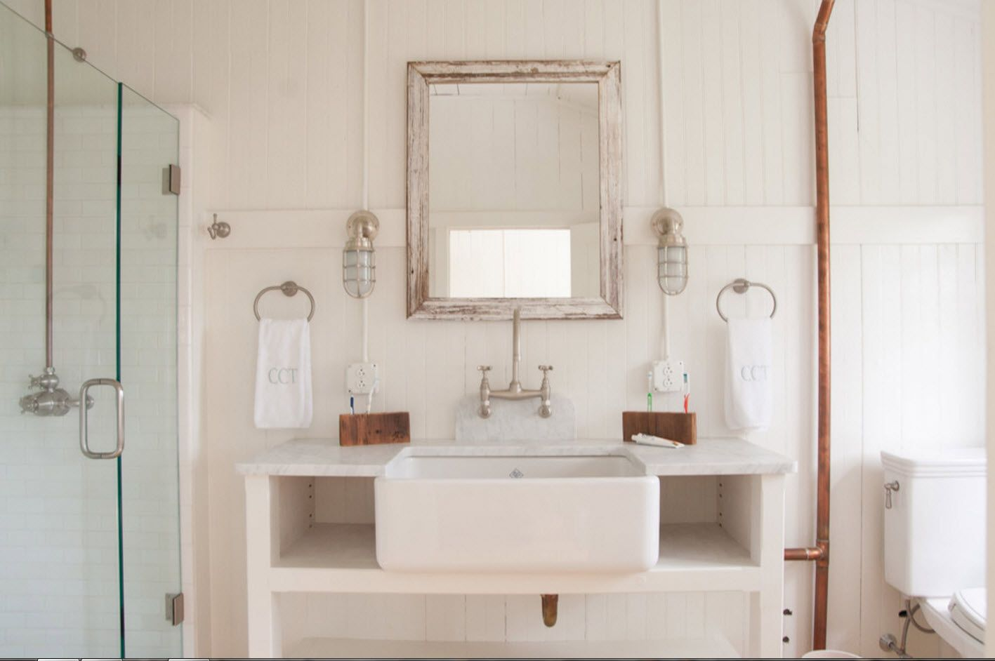 Classic rustic interior of the strict designed bathroom