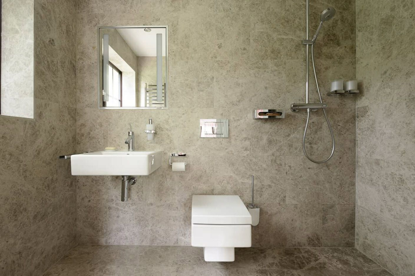 Awesome bathroom design of functional wall with all necessary accessories