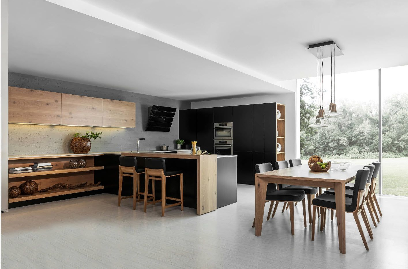 Accent wall of the kitchen set and the kitchen island in large private house