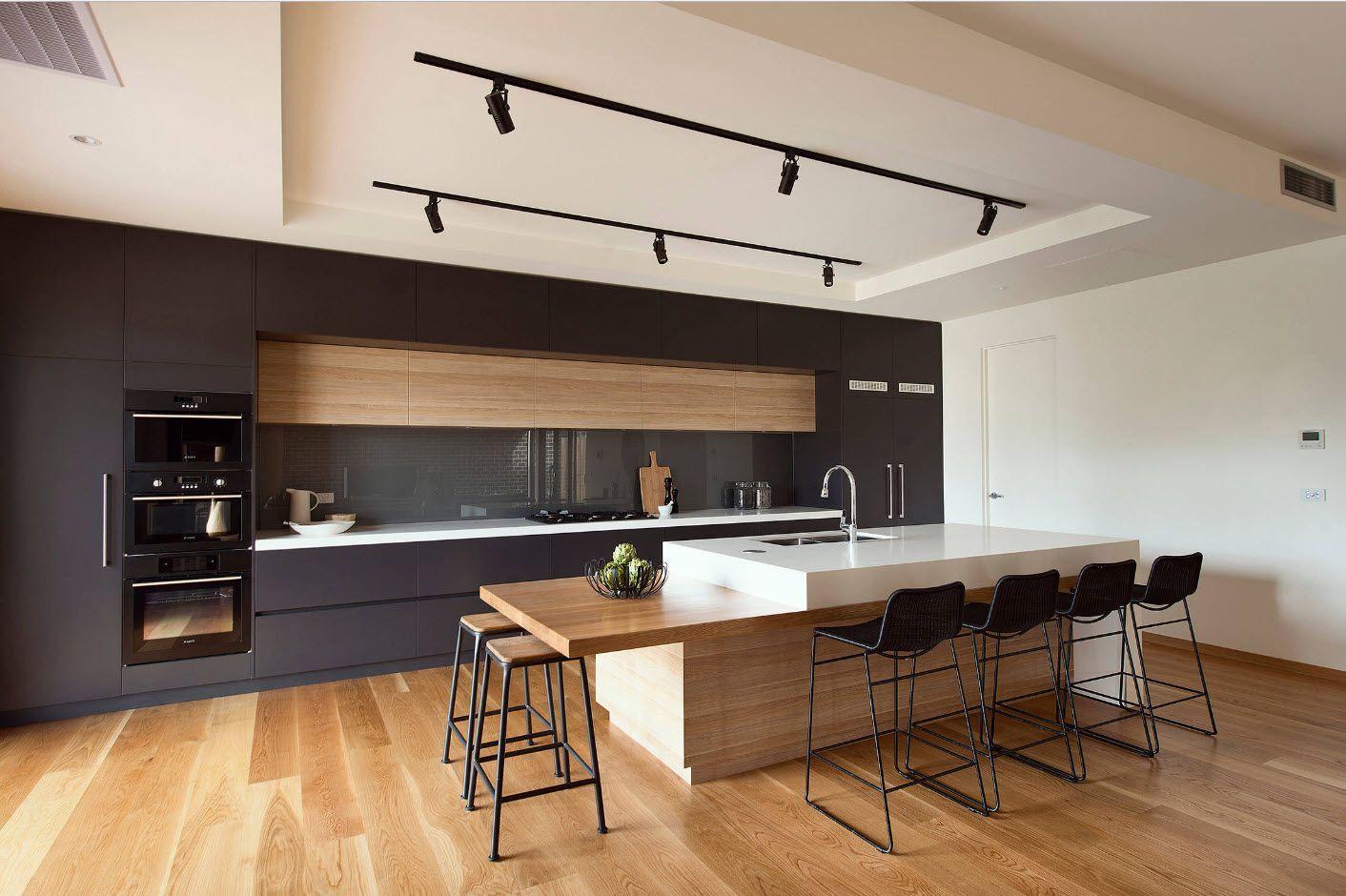 Modern pastel interior with dark accents
