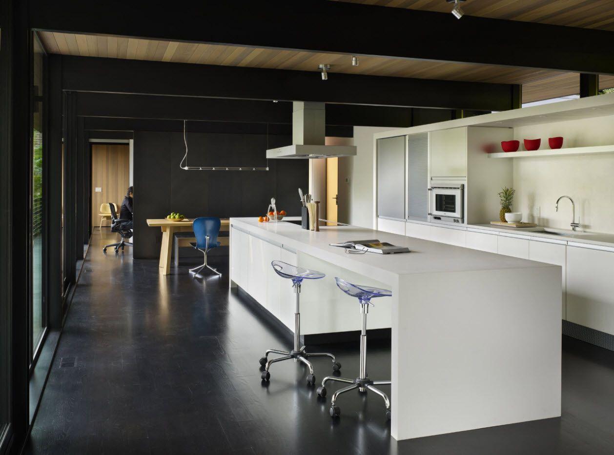Spectacular black design of the hi-tech kitchen