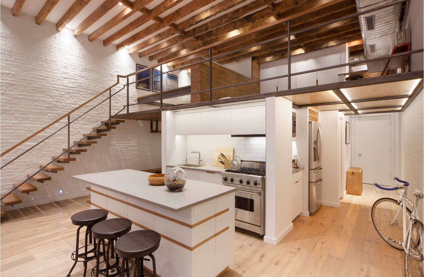 Spectacular gorgeous design idea of loft solution for two-storey apartment