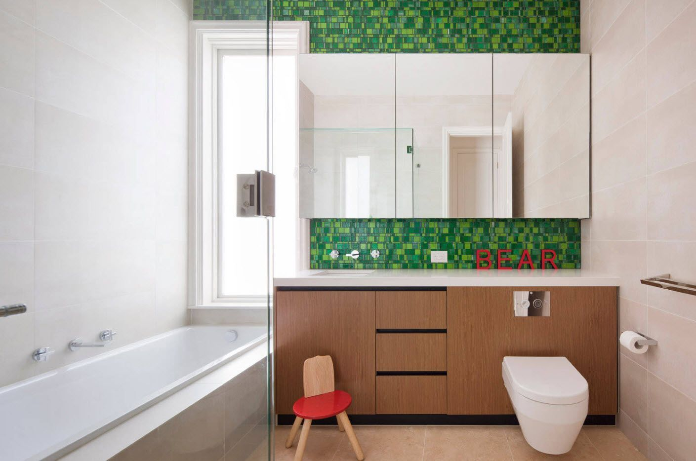 Interesting green inlays in bathroom finish
