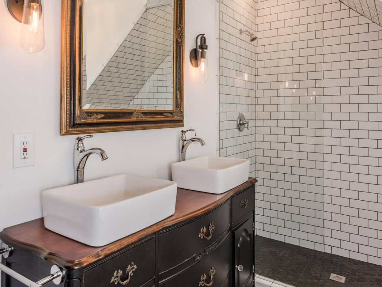 Underground style bathroom tile and sinks