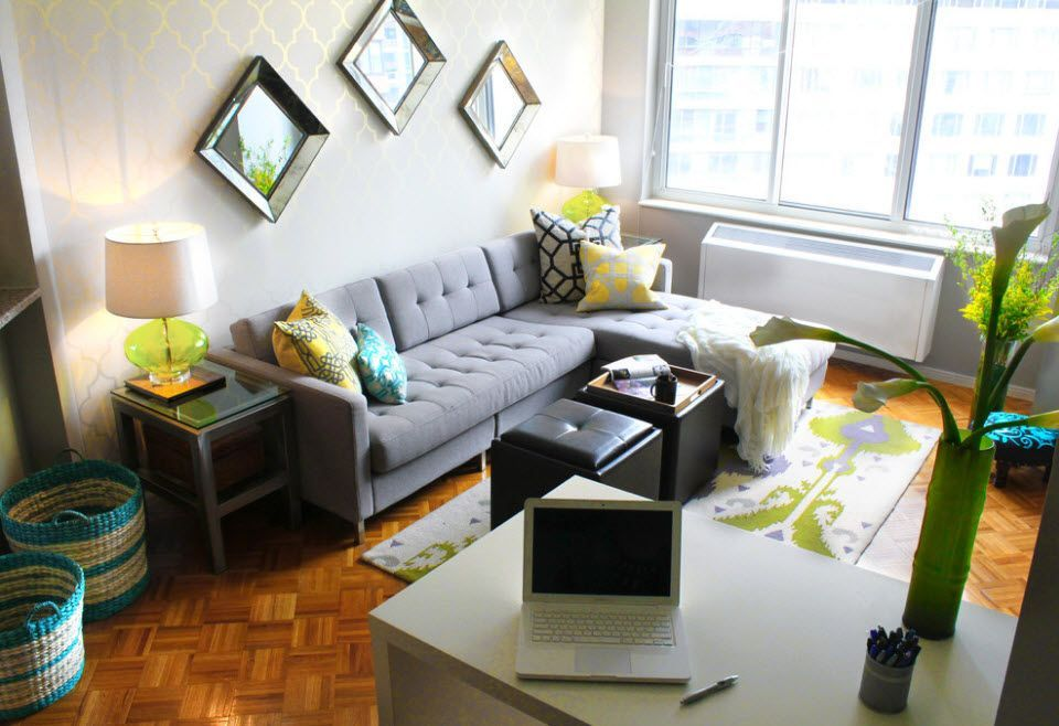 Small and cozy working/sitting room with ancient parquet and rhomb three mirrors