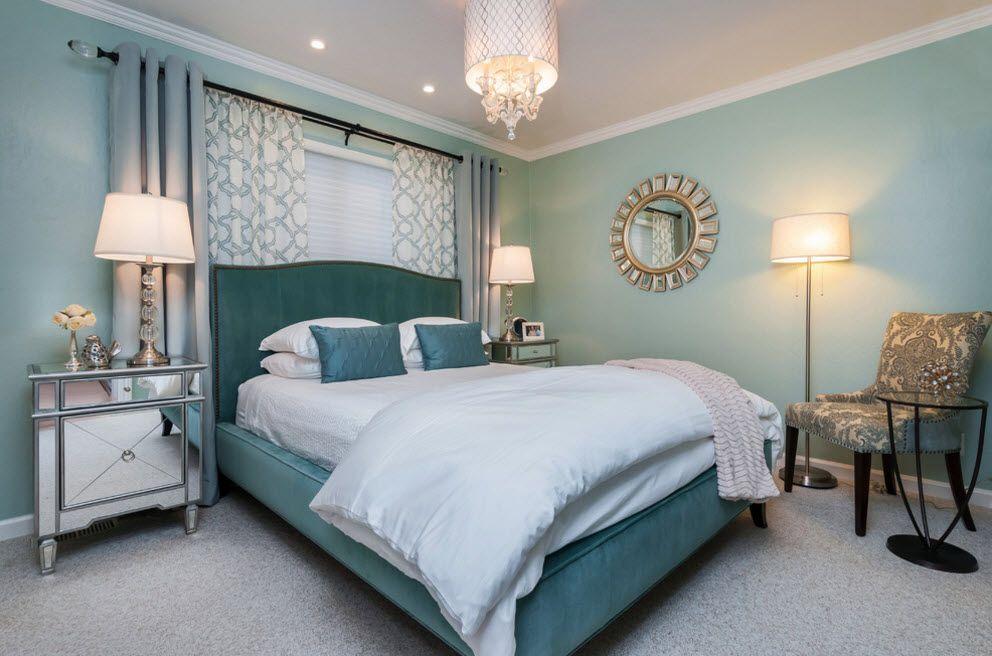 A little bit playful bedroom in green palette